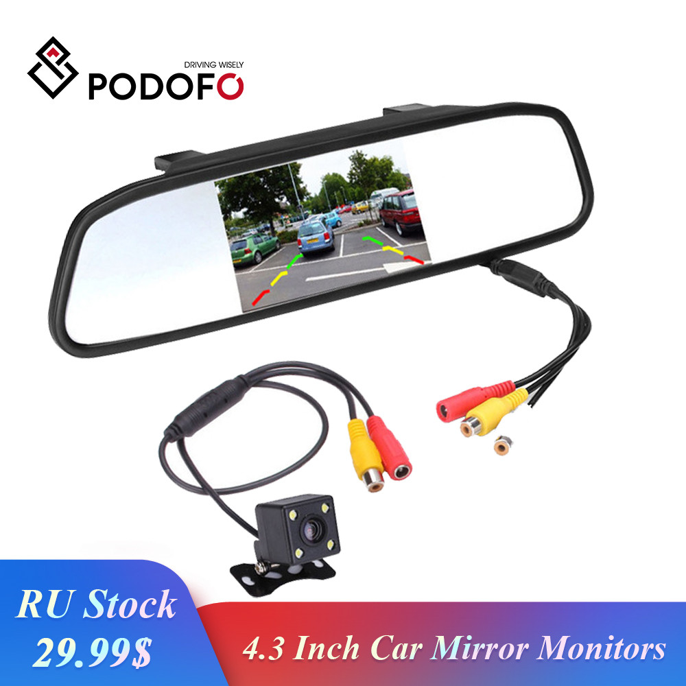 Podofo Car HD Video Auto Parking Monitor, LED Night Vision Reversing CCD Car Rear View Camera With 4.3 Inch Car Rearview Mirror