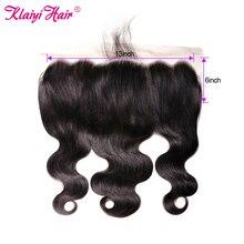 Klaiyi-extensiones de pelo brasileñas con malla Frontal, accesorio capilar ondulado de 13x6 pulgadas con encaje Frontal Remy de 8 ''-18''