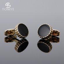Мужские классические запонки tomye xk19s107 золотистые круглые