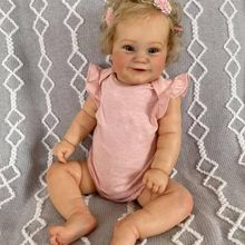 Simulation 50CM Silicone Reborn Girl Baby Toddler Popular Cute Girl Doll with Rooted Blonde Hair Soft Cuddle Body Handmade Doll