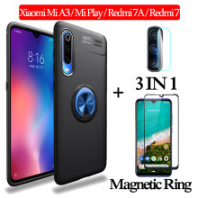 3-in-1 Glass + Magnetic Silicone Case for Xiaomi MiA3 Mi Play Soft phone Redmi7A Full Cover xiaomi mi a3 magnetic ring