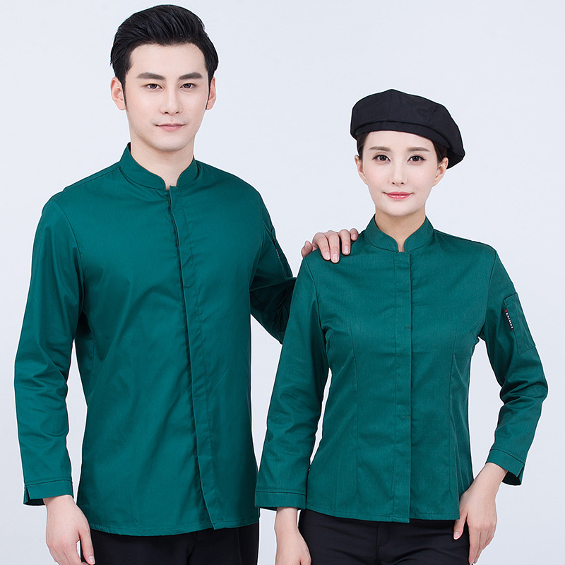 Pure Color Hotel Overalls Men Women New Long Sleeve Breathable Oil-proof Restaurant Standing Collar High Quality Waiter Clothes