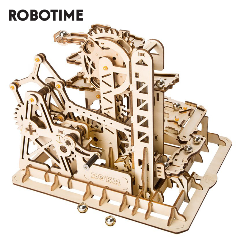 Robotime DIY Marble Run Game 3D Wooden Puzzle Gear Drive Tower Coaster Model Building Kit Toys For Children Adult LG504