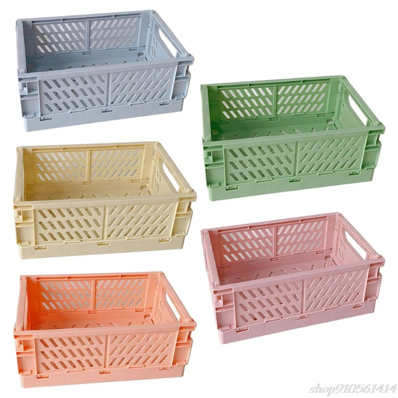Collapsible Crate Plastic Folding Storage Box Basket Utility Cosmetic Container Desktop Holder N12 20 Dropshipping