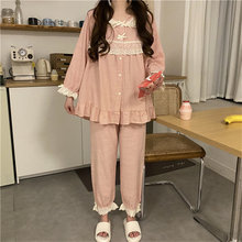 Ladies pajamas set cute doll collar stitching lace embroidery