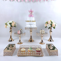 Crystal beads cake stand set gold plated mirror surface dessert stand wedding party table decoration baking tool