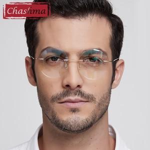 Image 2 - チャシュマ新ブランドチタンリムレス眼鏡フレーム超軽量近視ラウンドヴィンテージ眼鏡光学フレーム男性と女性