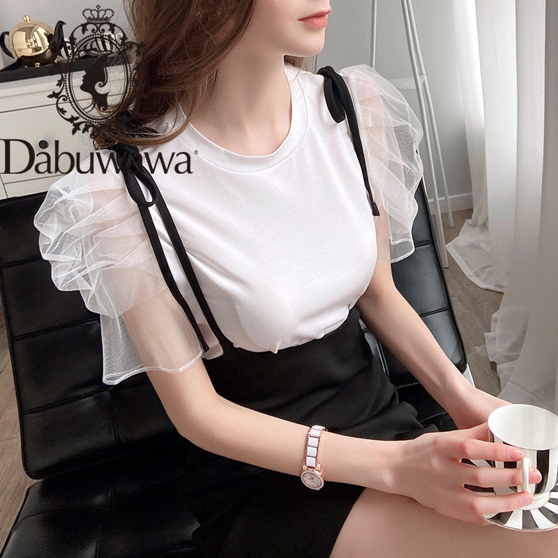 Dabuwawa Mesh Puff Short Sleeve O-Neck Women Casual T Shirt Summer Elegant Solid Tops Tee Female DT1BTS027