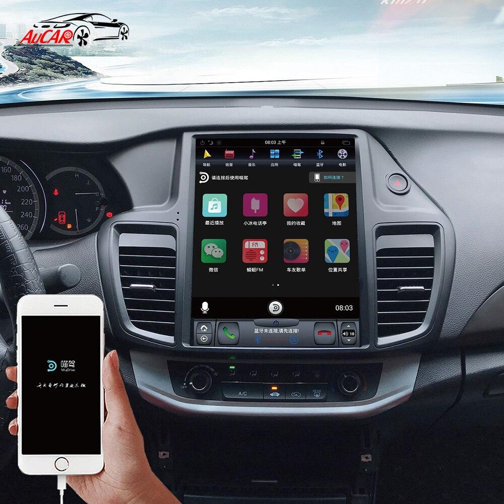 Navegação gps do rádio do carro de aucar tesla android 9 multimidia para o jogador estereofônico do autoradio do ruído de honda accord 2013-2017 android 9 1