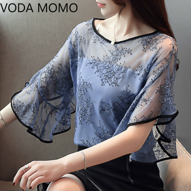 Summer New Fairy Lace Stitching Women shirt Butterfly sleeve embroidery Tops Casual Crochet Hollow out blouse Plus size 1