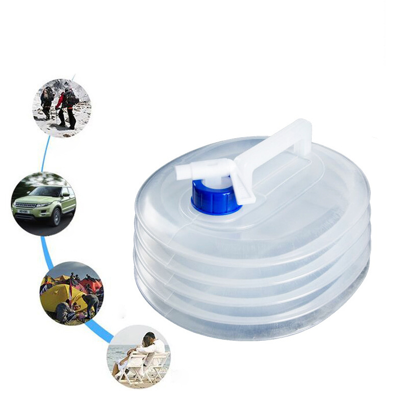 3/5/8/10L Outdoor Water Bucket Folding Water Bag Storage Foldable PE Plastic Food Grade Water Bottle Container Camping Supplies