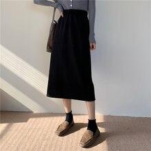 Женская Вельветовая юбка средней длины Повседневная однотонная