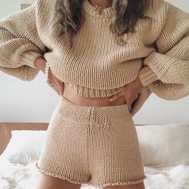 2PCS/Set Women Tracksuit Set Ladies Lounge Wear Cable Knit Crop Top Lounge Wear Suit Solid Crop Top Shirts Shorts Pants Clothes