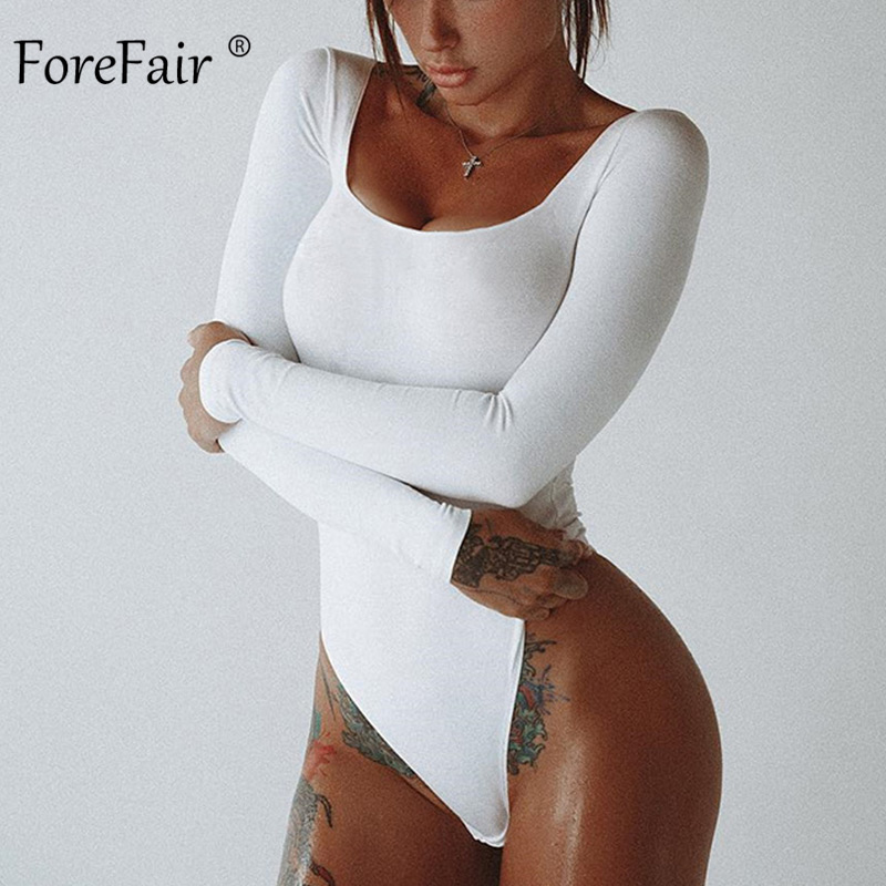 Forefair Long Sleeve Slim Sexy Bodysuit For Women Autumn 2019 Casual Fit Basic O Neck Female Body Red Black White Jumpsuit