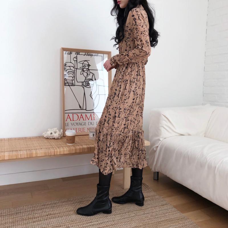 He416a6321c8440f0835f13ca143081302 - Autumn Korean V-Neck Long Sleeves Chiffon Floral Print Midi Dress