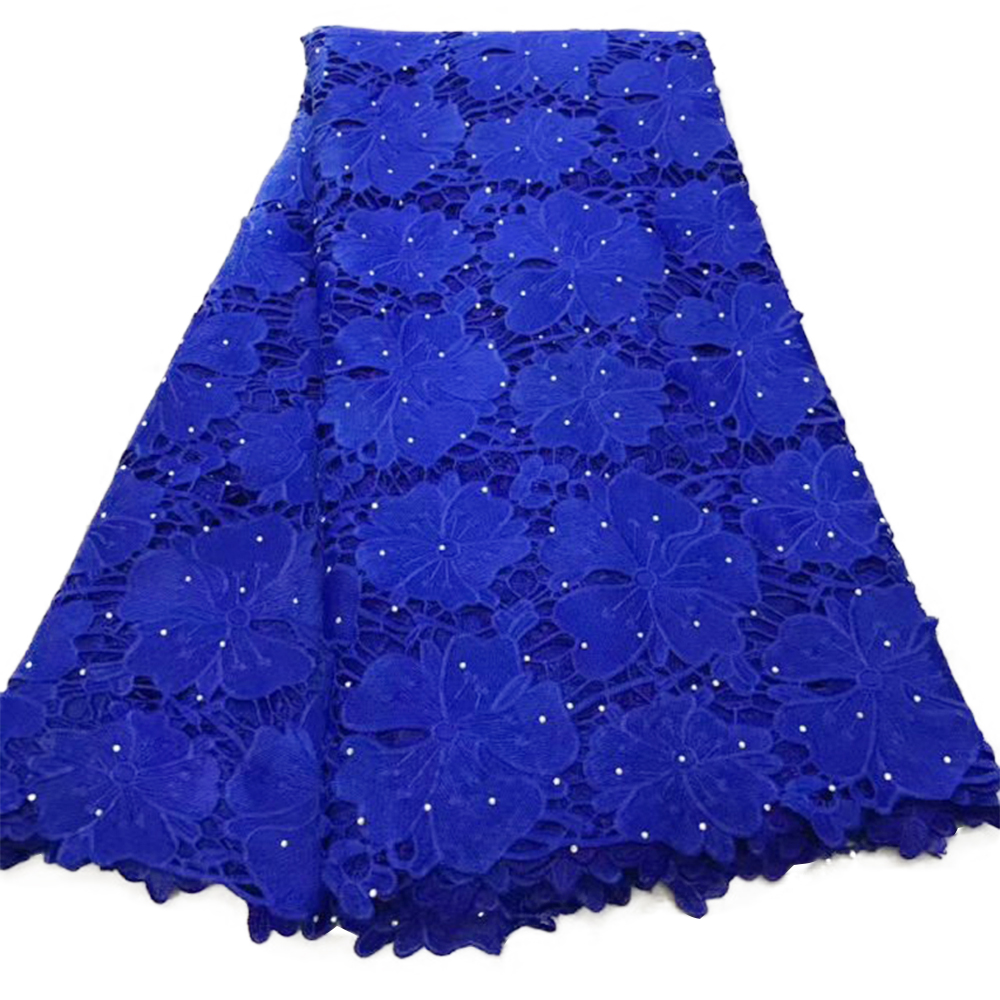 Dark Blue Nigerian Cord Guipure African Lace Tulle Ankara Swiss Voile Lace Water Soluble 5 Yards Cotton Dry Lace For Wedding