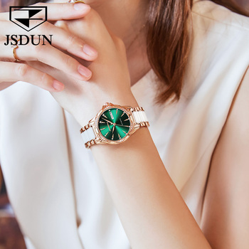 JSDUN Women Mechanical Watch Rose Gold Stainless Steel Ceramics Strap Dress Watches Fashion Luxury Brand Women's Automatic Watch 5