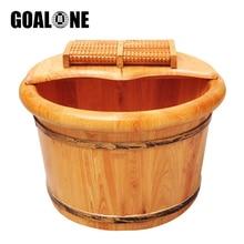GOALONE Wood Foot Basin Foot Bucket Pedicure Bowl Spa Massage Cedar Thicken Barrels Household Foot Bath Barrel with Lid Massager