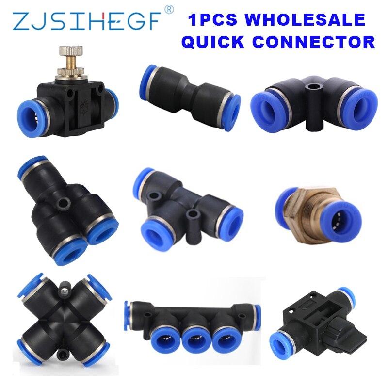 1 adet T/Y/L/düz tip PU/PV/PY/PE/PM/PZA/PK/HVFF/pnömatik bağlantı parçaları hava/su boru-tüp bağlayıcı 4/6/8/10/12/14/16mm