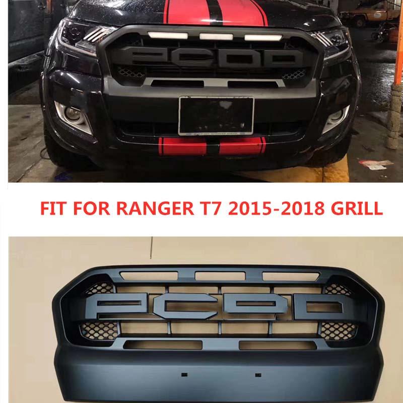 As peças exteriores que competem grades da grade próprio design modificado amortecedor dianteiro malha máscara capa apto para ranger raptor t7 15-17 xlt wildtrak