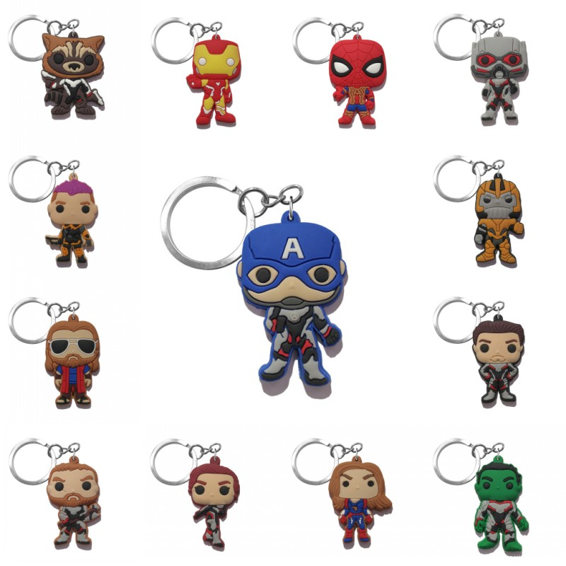 1pcs PVC Keychain Cartoon Figure Marvel Avenger Key Chain Anime Hulk Batman Key Ring Super Hero Kid Toy Holder