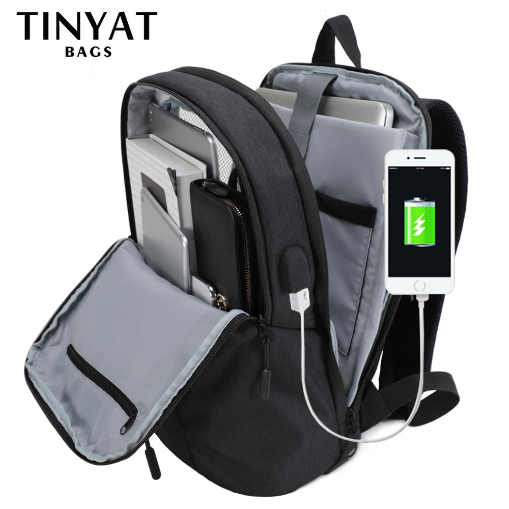 TINYAT Mens Laptop Backpack USB For 15.6 Inch Man Backpack Bag 90c Open Business Shoulder Backpack Male BagPack Travel Mochila