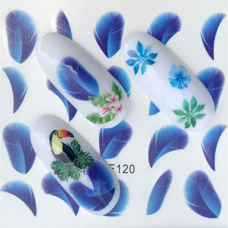 Cross Border For New Style Nail Sticker YZW120 Feather Nail Sticker Environmentally Friendly Breathable Nail Decal
