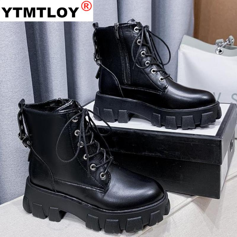 Fashion Platform Buckle Lace Up Winter Ankle Boots for Women Sneakers Casual White Black Chunky Heel Ladies Shoes  Lace up