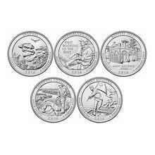 US Set 5 sztuk, 2016 Park narodowy pamiątkowe ćwierć monety, 25 centów, USA, UNC oryginalne monety kolekcjonerskie