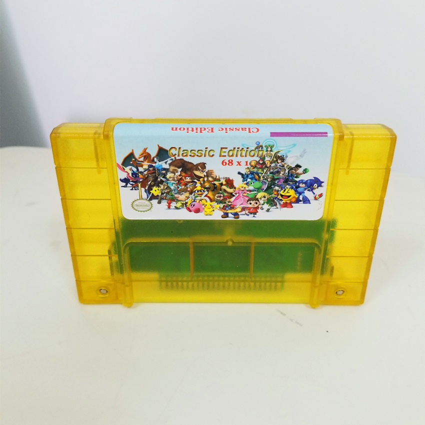 Super 68 In 1 Game Cartridge Battery Save With Chrono Trigger Earthbound Donkey Country Kong 1 2 3 SuperMario World All Star