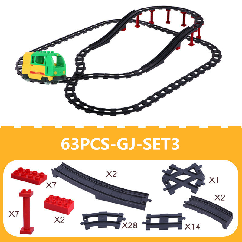 Big Size Duploed Train DIY Building Blocks Track Accessories Compatible With Educational Bricks Toys For Children Kids Gift