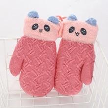 Cartoon Warm Winter Gloves Plus velvet Thicken Keep Children Unisex Mittens Accessories-kh