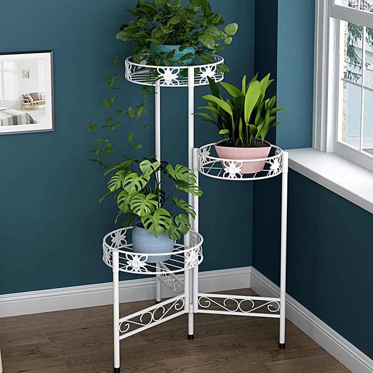 3 Tier Metal Plant Stand Flower Rack Pot Storage Rack Display Shelf Holder Home Indoor Outdoor Decor Garden Balcony