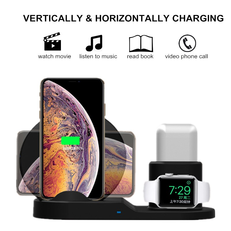 4 2 3 in 1 10W Fast Wireless Charger Dock Station Fast Charging For iPhone XR XS Max 8 for Apple Watch 2 3 4 For AirPods (2)