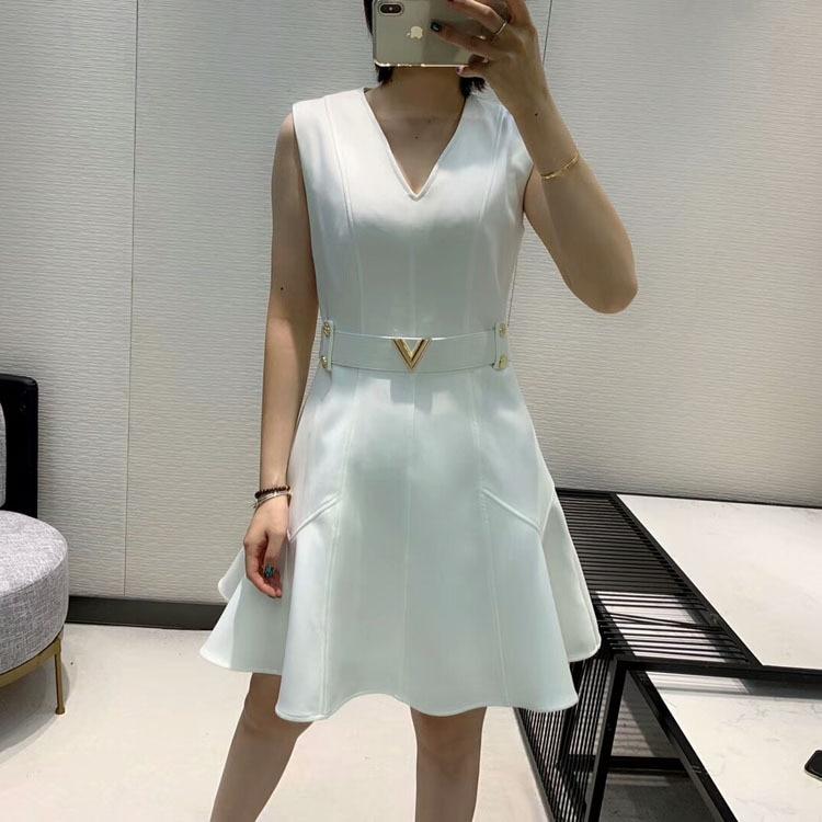 2019 herbst und Winter frauen Neue Stil Elegante Mode Hohe Qualität V ausschnitt Kleid 2 Farbe Schwarz & Weiß