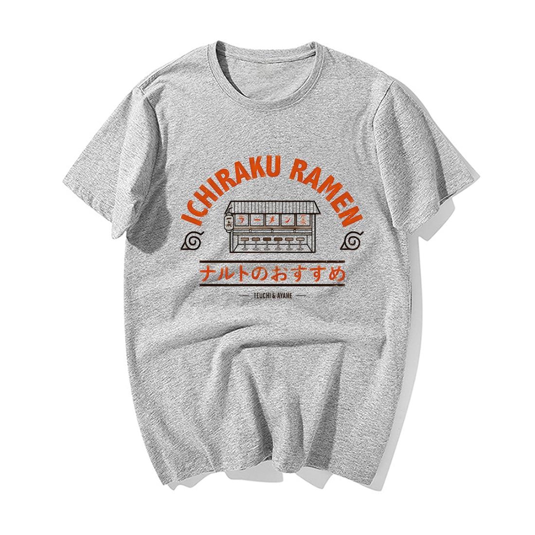 Funny Naruto Japanese Anime T Shirt Fashion Naruto Uzumaki Ichiraku Ramen Print Tshirt Men Summer Cotton Hip Hop Tshirts