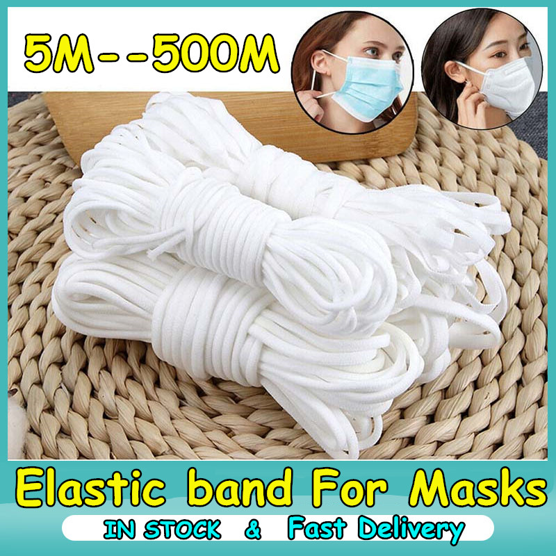 Wholesale 3MM White Thin Round Elastic Bands Elastic Rope For Masks Garment Elastic Tape For DIY Sewing Accessories Multi Size