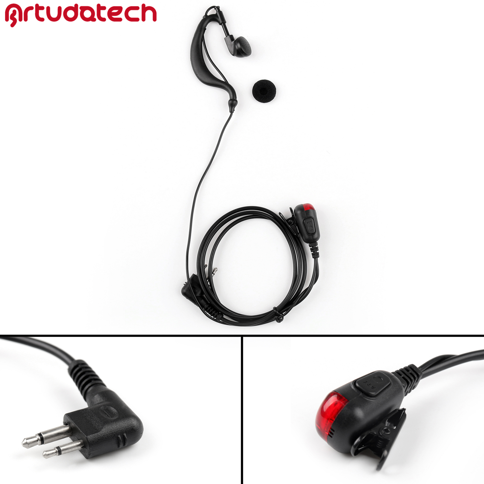 Artudatech 2Pin Ear-Hook Hanging Earpiece Headset With LED Light PTT For Motorola GP88 GP88S CP88 CP040 CP100 CP110 CP125 CP150