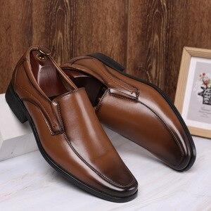 Image 2 - Classic Business Mens Dress Shoes Fashion Elegant Formal Wedding Shoes Men Slip On Office Oxford Shoes For Men Black B1375