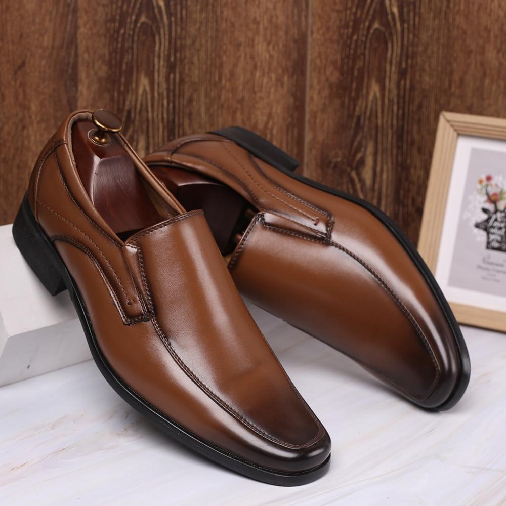 Image 2 - Klasyczny biznes męskie buty sukienka mody elegancki formalne buty ślubne mężczyźni poślizgu na biurowe Oxford buty dla mężczyzn czarny b1375Buty wizytowe   -
