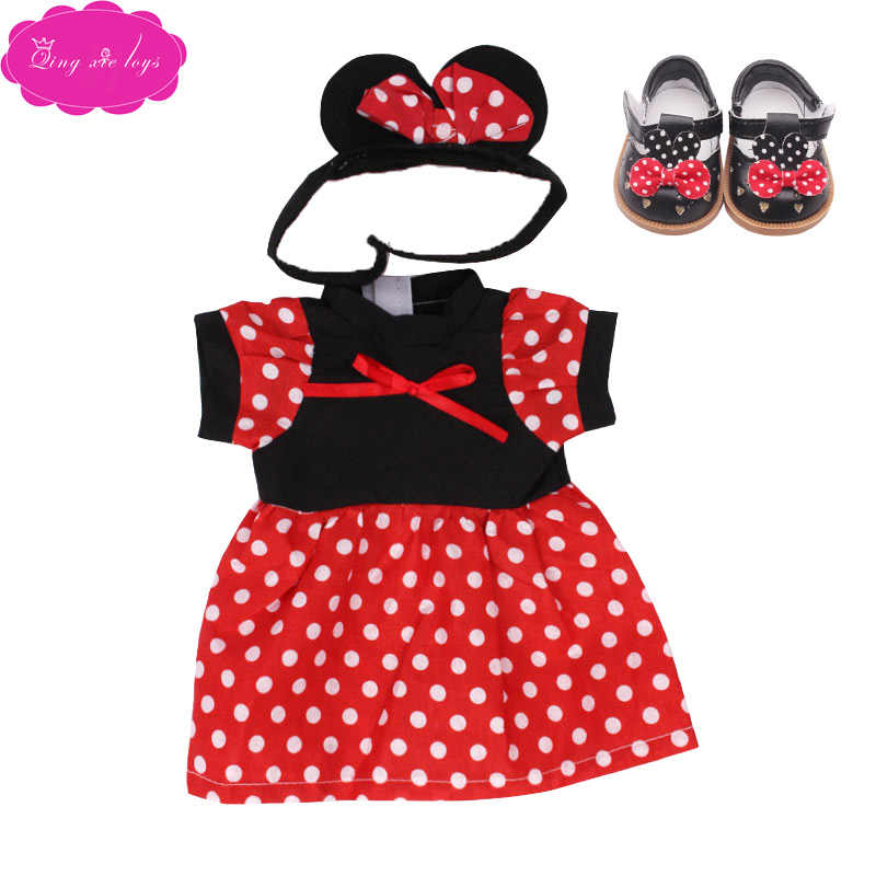 18 inch Meisjes pop Eenhoorn pak Sneeuwwitje jurk met schoenen Amerikaanse pasgeboren Mickey rok Baby speelgoed fit 43 cm baby poppen c76