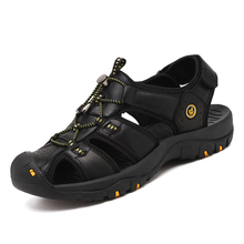 New Men Leather Sandals Man Beach Hiking Breathable Big Size Summer Non-slip Sports Shoes Male Hole