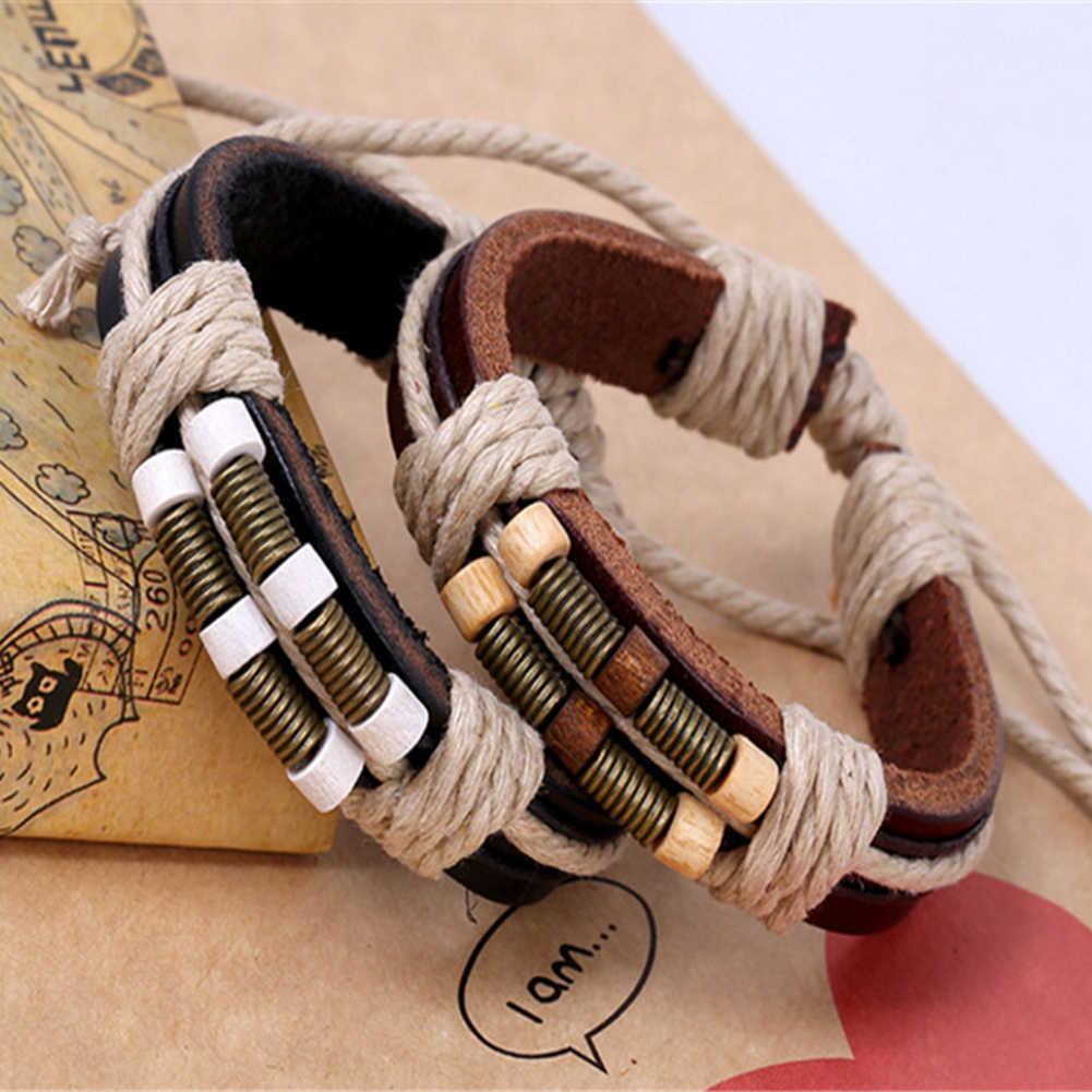 פאנק לשני המינים קלוע חבל דמוי עור בעבודת יד צמיד צמיד תכשיטי מתנה