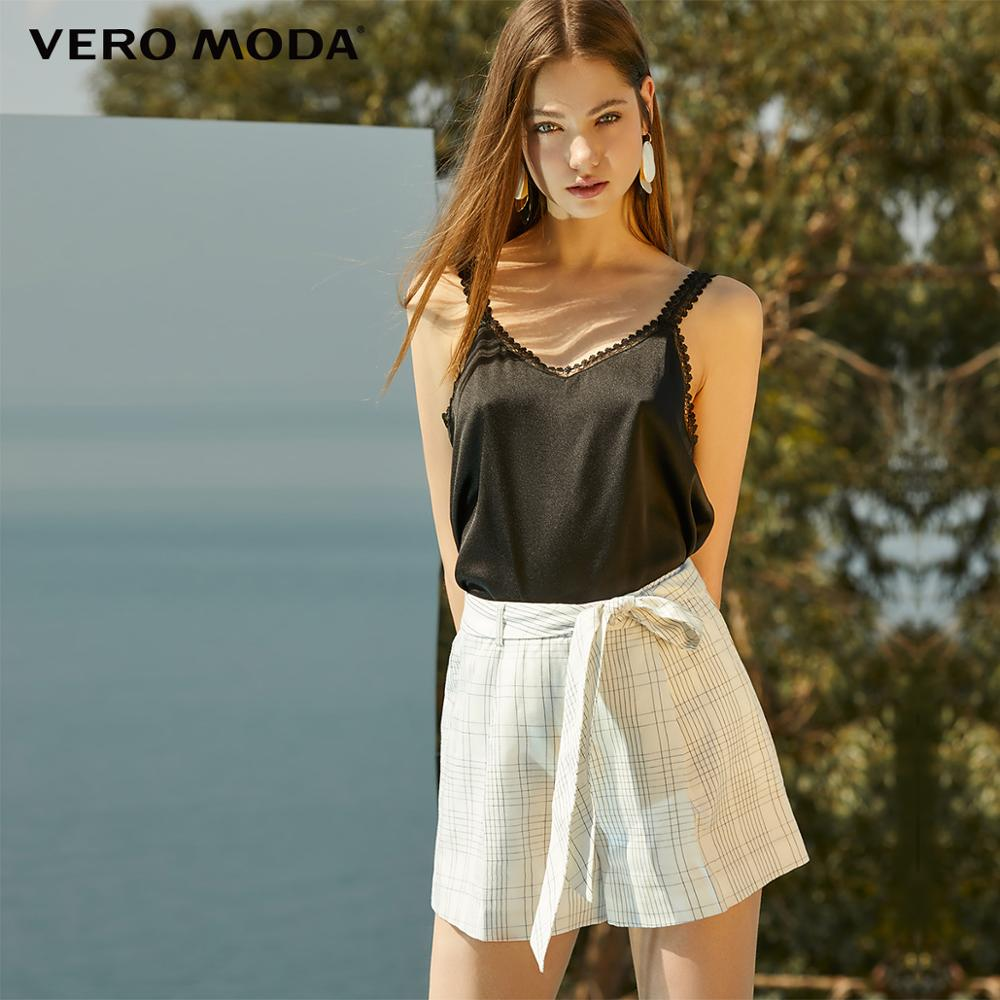 Vero Moda Women's Linen Mid-rise OL Style Plaid Shorts | 319215512