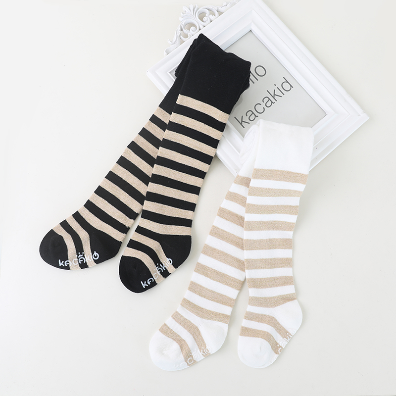 White/black gold stripe design newborn baby girls pantyhose fall cotton stripe infant kids stocking for girls pants toddler meia