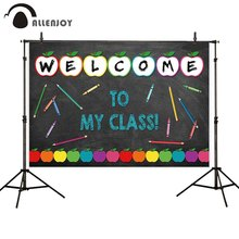 Allenjoy welcome to my class photo background blackboard Colorful paper cut pencil crayon backdrop Class Open Day photophone