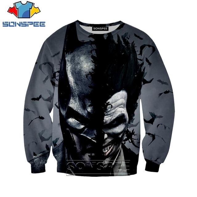 Autumn Sweatshirts Joker Batman Prined Long Sleeve SONSPEE 3D Print Men Women Streetwear Unisex Hip Hop Pullover Tops Hoody