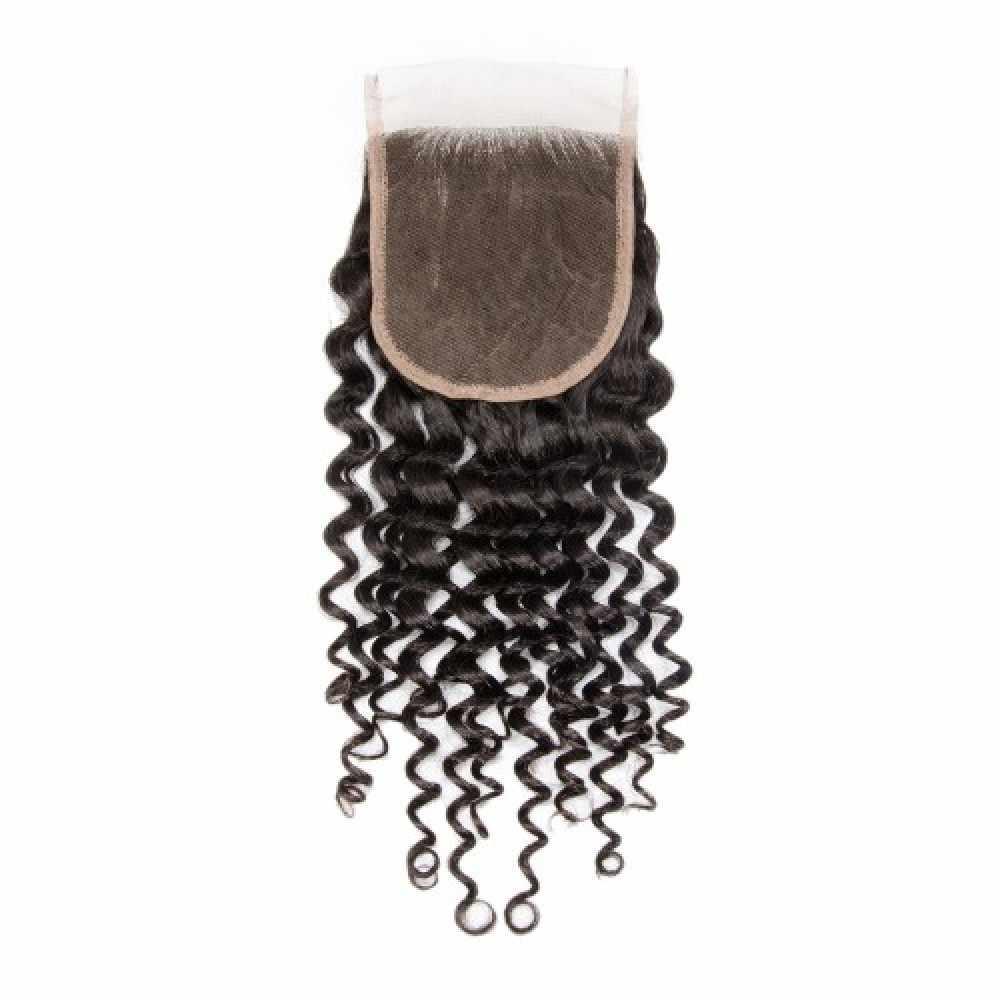Tubuh Gelombang Sutra Dasar Renda Penutupan Manusia Rambut Brasil Remy Rambut Sutra Atas 4X4 Renda Penutupan dengan Bayi rambut untuk Wanita Eseewigs