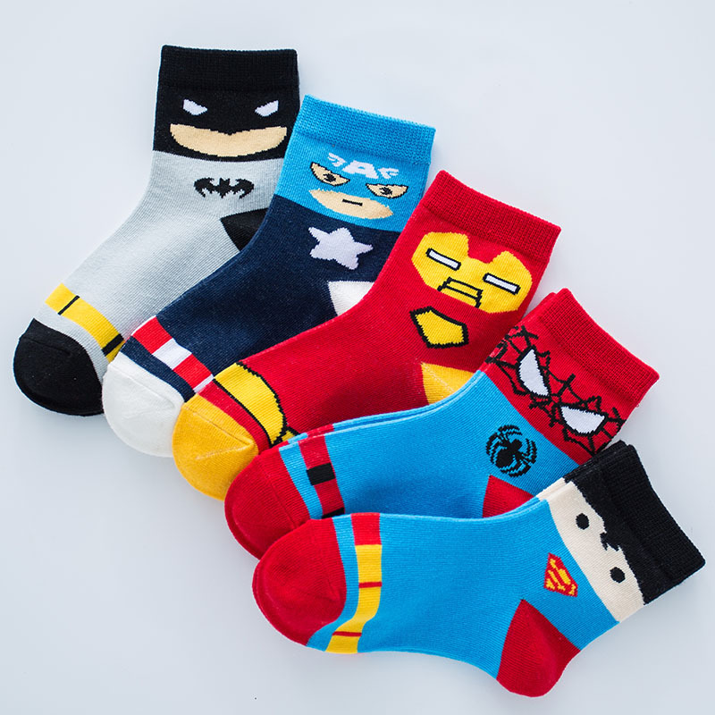 2 à 12 ans enfants chaussettes de bande dessinée Super héros néonatal garçons filles respirant chaussettes courtes enfants bébé trucs garçons chaussettes en coton