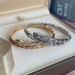 Top Kwaliteit Hot Brand Bangle & Armband Vrouwen Flexibele Bone Set Aaa Synthetische Diamant Elegante Originele Bijoux Geschenken Maat M 17
